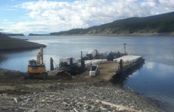 Industra - Kwadacha - Barge on Finlay River. BC